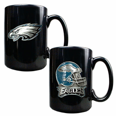 Philadelphia Eagles Two Coffee Mug & Helmet Set