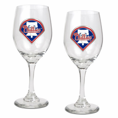 Philadelphia Phillies 2pc Wine Glass Set