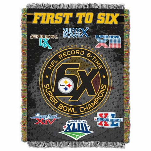 Pittsburgh Steelers 1st to 6X Champs Commemorative Woven Tapestry Throw
