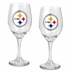 Pittsburgh Steelers 2pc Wine Glass Set