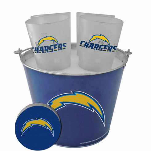 San Diego Chargers Metal Bucket, Frost Resist Pint Glass & Coaster Set