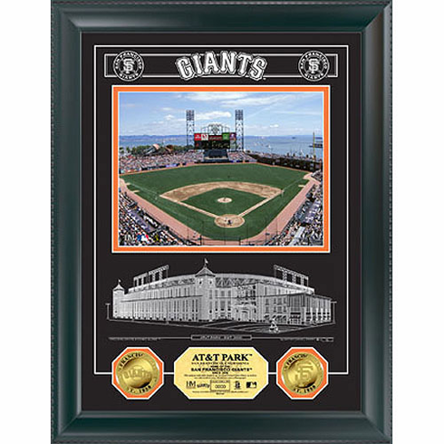 San Francisco Giants At&T Park Archival Etched Glass W/ Two Gold Coins