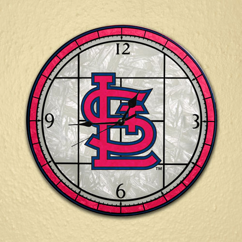 St. Louis Cardinals Art Glass Clock