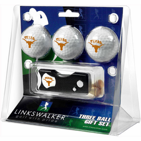 Texas Longhorns 3 Golf Ball Gift Pack w/ Spring Action Divot Tool