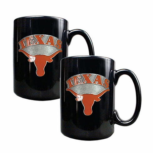 Texas Longhorns Two Piece Black Coffee Mug Set