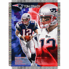 Tom Brady #12 New England Patriots NFL Woven Tapestry Throw Blanket