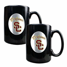 USC Trojans Two Piece Black Coffee Mug Set