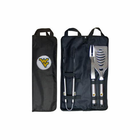 West Virginia Mountaineers 3pc Stainless Steel BBQ Set w/ Bag - BACKORDERED