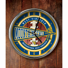 West Virginia Mountaineers Chrome Clock