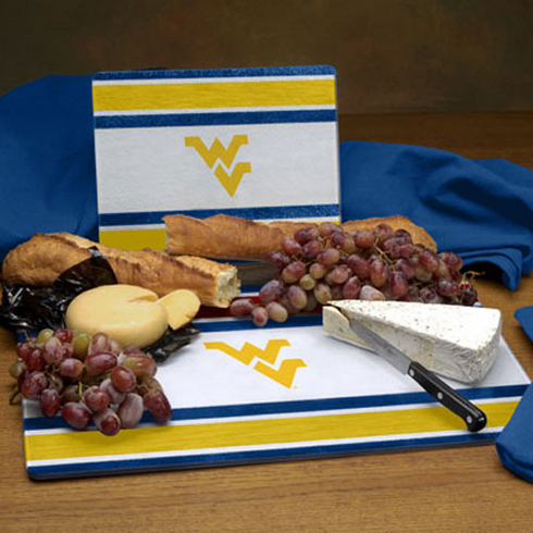 West Virginia Mountaineers Glass Cutting Board Set