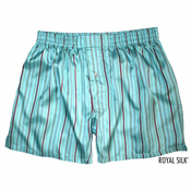 Aqua Blue Stripes Silk Boxers