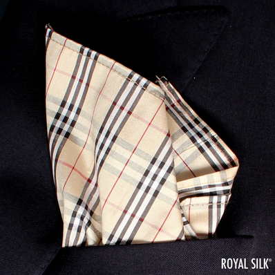 Beige Black Checks Taffeta