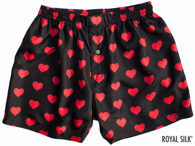 Black Silk Hearts Men's Boxers