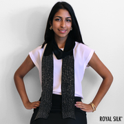 Black Slim Silk Chiffon Scarf