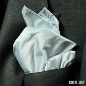 EMBROIDERED BLUE GLOW SILK HANDKERCHIEF