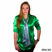 Blue Satin Silk Scarf
