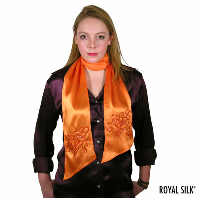Orange Satin Silk Scarf