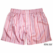 Candy Pink Stripes Silk Boxers