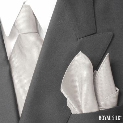 Cream White Royal Silk Tie And Pocket Square Set