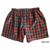 Black Red Tartan Checks Silk Boxers