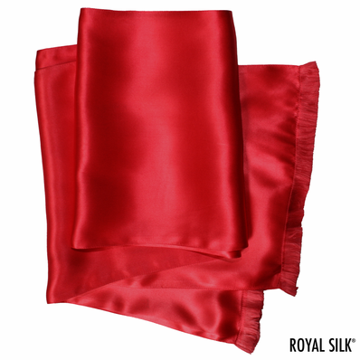 Deep Red Silk Aviator Scarf