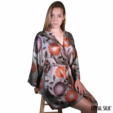 DREAM ORCHIDS DULCET GREY SATIN SILK KIMONO