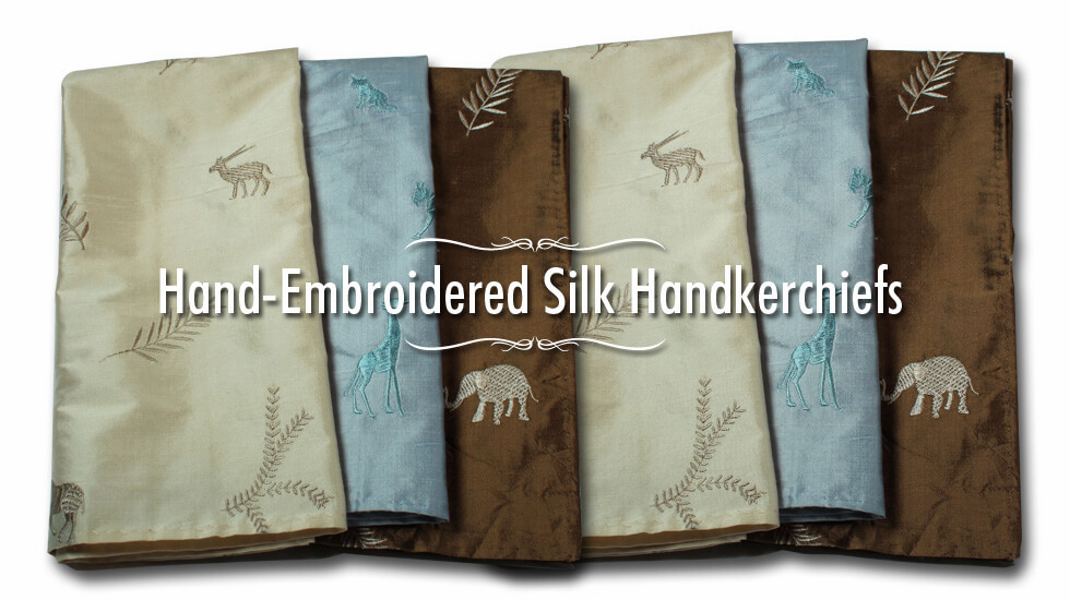 EMBROIDERED FIRE BROWN SILK HANDKERCHIEF