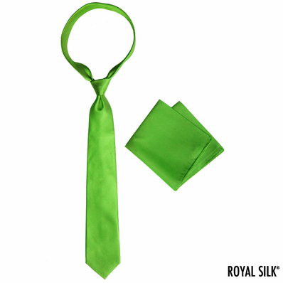 Fire Green Royal Silk Tie And Pocket Square Set