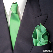 Fire Green Skinny Silk Tie And Pocket Square Set