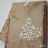 EMBROIDERED COCOA BROWN SILK HANDKERCHIEF