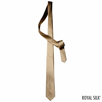 Golden Tan Skinny Silk Tie