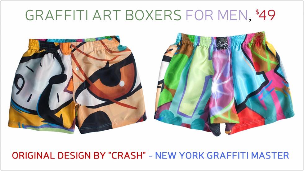 Graffiti Art Silk Boxers by Crash for Royal Silk�
