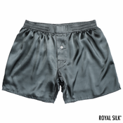 Granite Grey Satin Silk Boxers