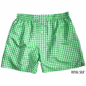 Island Green Checks Silk Boxers