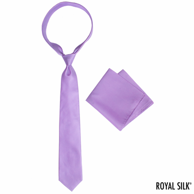 Lilac Royal Silk Tie And Pocket Square Set