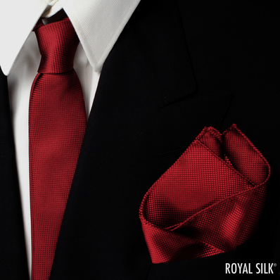 Maroon Skinny Silk Tie And Pocket Square Set