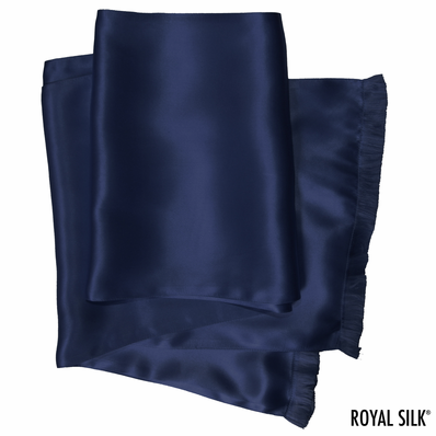 Navy Silk Aviator Scarf