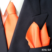 Orange Royal Silk Tie And Pocket Square Set
