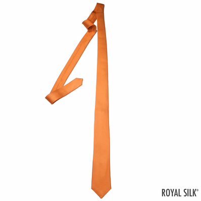 Orange Skinny Silk Tie