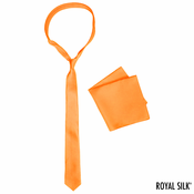 Orange Skinny Silk Tie And Pocket Square Set