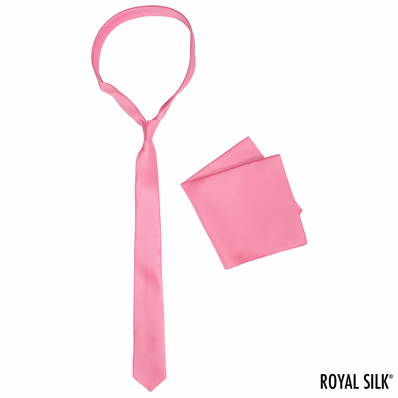 Pink Skinny Silk Tie And Pocket Square Set