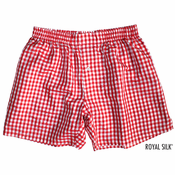 Red White Checks Silk Boxers