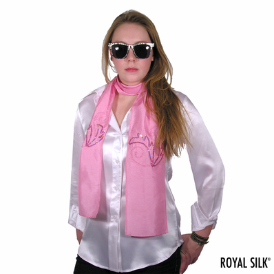 Sequined Pink Silk Scarf