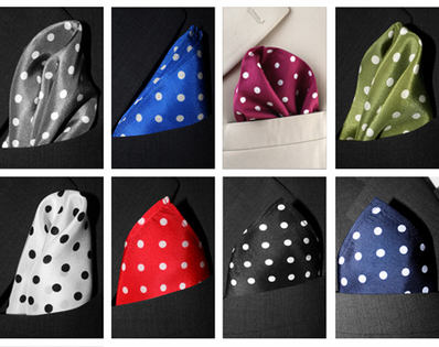 Set of Three Silk Polka Dot Pocket Squares