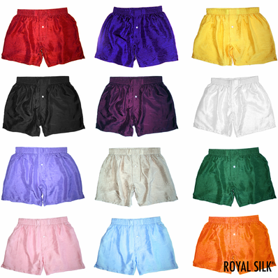 THREE SOLID SILK BOXERS - CHOOSE YOUR COLORS