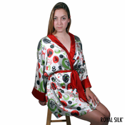 PLAY TIME RED WHITE SATIN SILK KIMONO