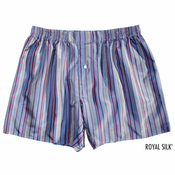 Steel Grey Blue Stripes Silk Boxers