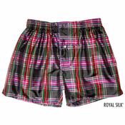 Gold Spectrum Plaid Silk Boxers