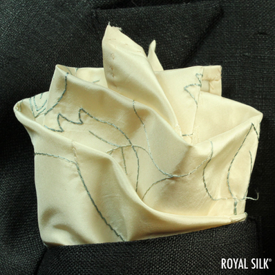 Embroidered Vanilla Glow Silk Handkerchief