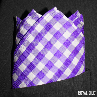 Purple White Seersucker Checks